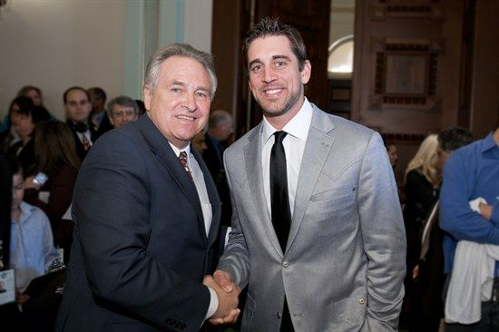 Assemblyman Jim Nielsen with Aaron Rodgers at the State Capitol